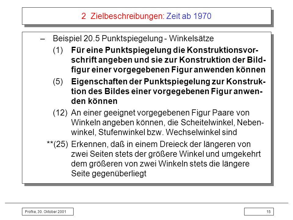 Profke, 30. Oktober 200115 2 Zielbeschreibungen: Zeit ab 1970 –Beispiel 20.5 Punktspiegelung - Winkelsätze (1)Für eine Punktspiegelung die Konstruktio