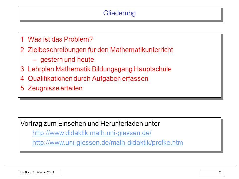 Profke, 30. Oktober 20012 Gliederung 1Was ist das Problem? 2Zielbeschreibungen für den Mathematikunterricht –gestern und heute 3Lehrplan Mathematik Bi
