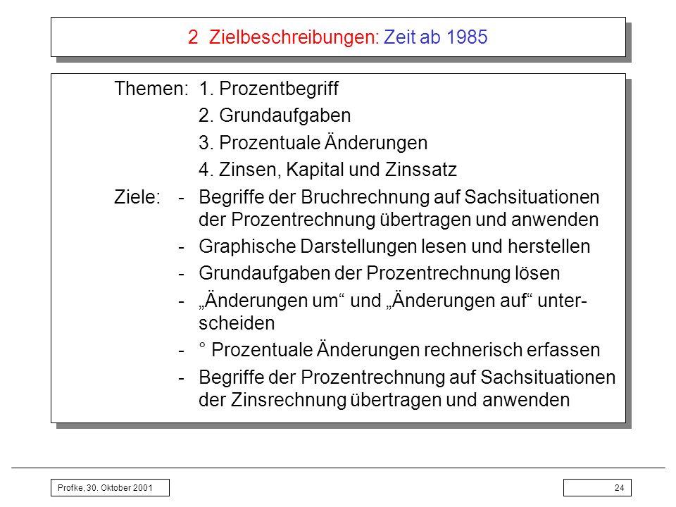 Profke, 30. Oktober 200124 2 Zielbeschreibungen: Zeit ab 1985 Themen:1. Prozentbegriff 2. Grundaufgaben 3. Prozentuale Änderungen 4. Zinsen, Kapital u