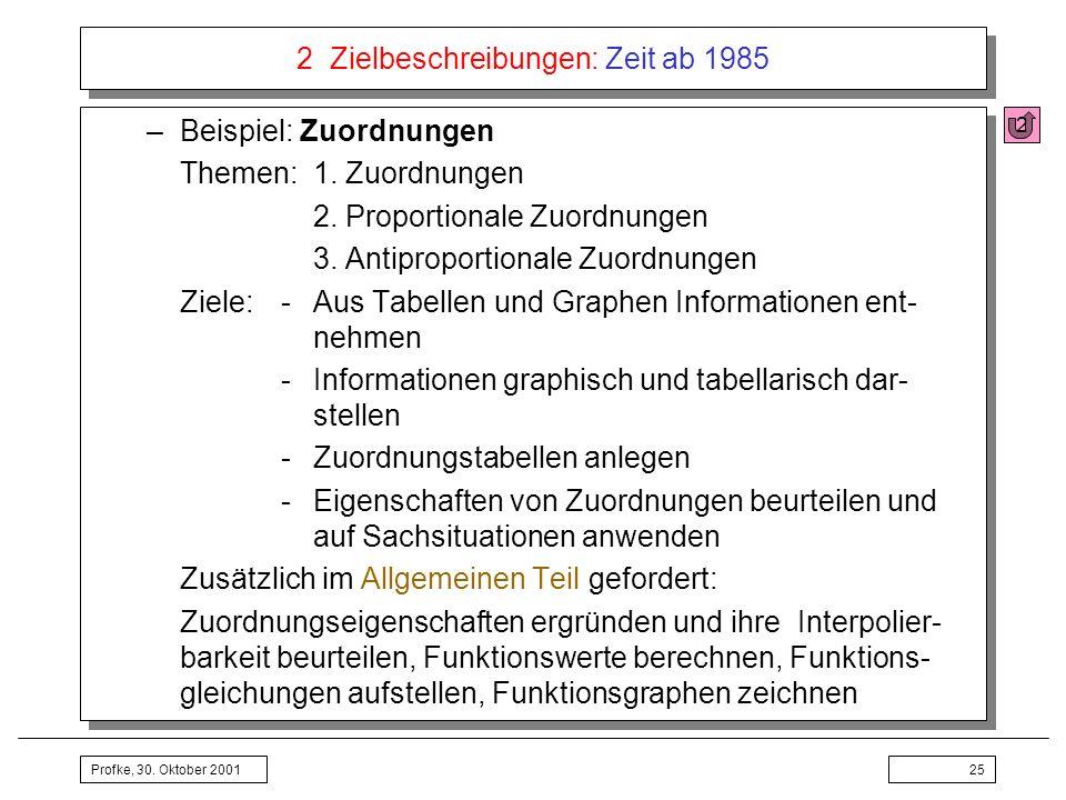 Profke, 30. Oktober 200125 2 Zielbeschreibungen: Zeit ab 1985 –Beispiel: Zuordnungen Themen:1. Zuordnungen 2. Proportionale Zuordnungen 3. Antiproport