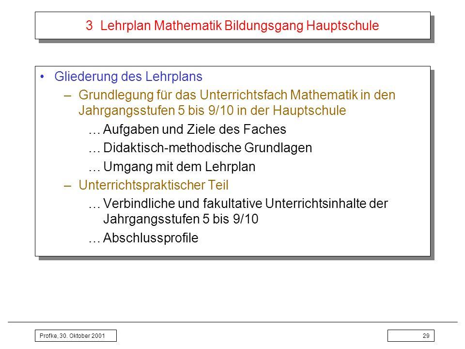 Profke, 30. Oktober 200129 3 Lehrplan Mathematik Bildungsgang Hauptschule Gliederung des Lehrplans –Grundlegung für das Unterrichtsfach Mathematik in
