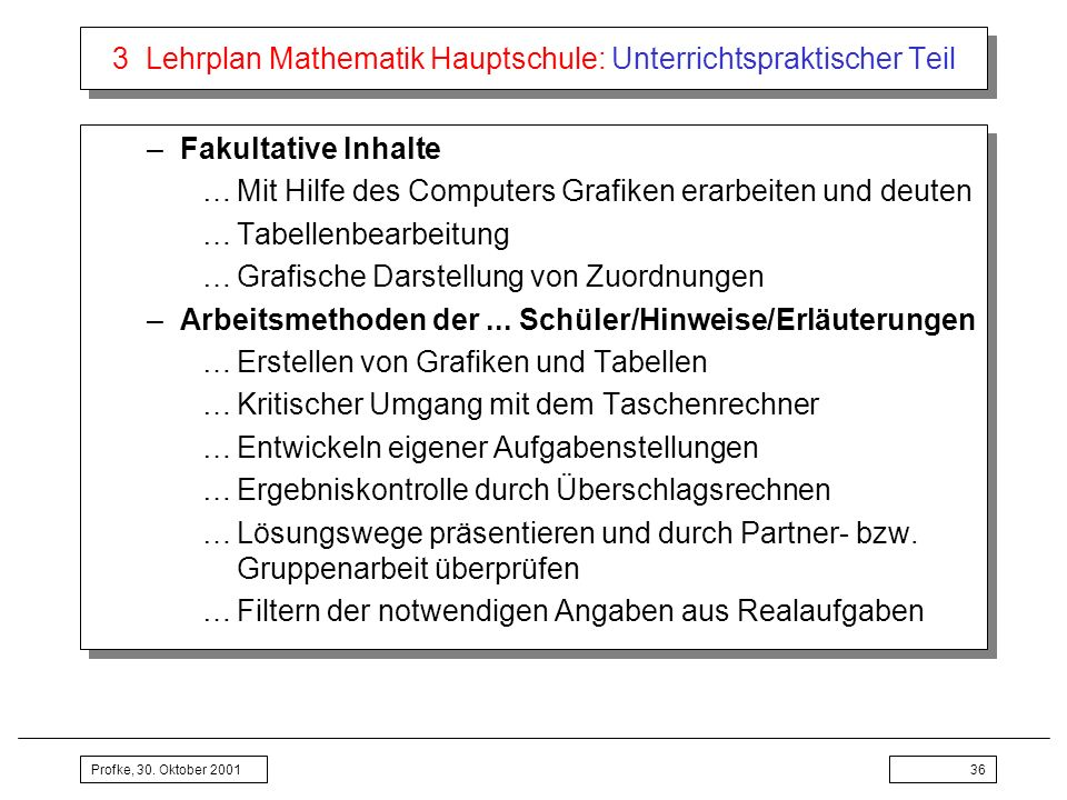 Profke, 30. Oktober 200136 3 Lehrplan Mathematik Hauptschule: Unterrichtspraktischer Teil –Fakultative Inhalte …Mit Hilfe des Computers Grafiken erarb