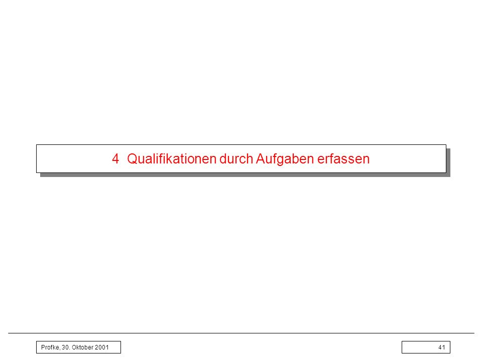 Profke, 30. Oktober 200141 4 Qualifikationen durch Aufgaben erfassen