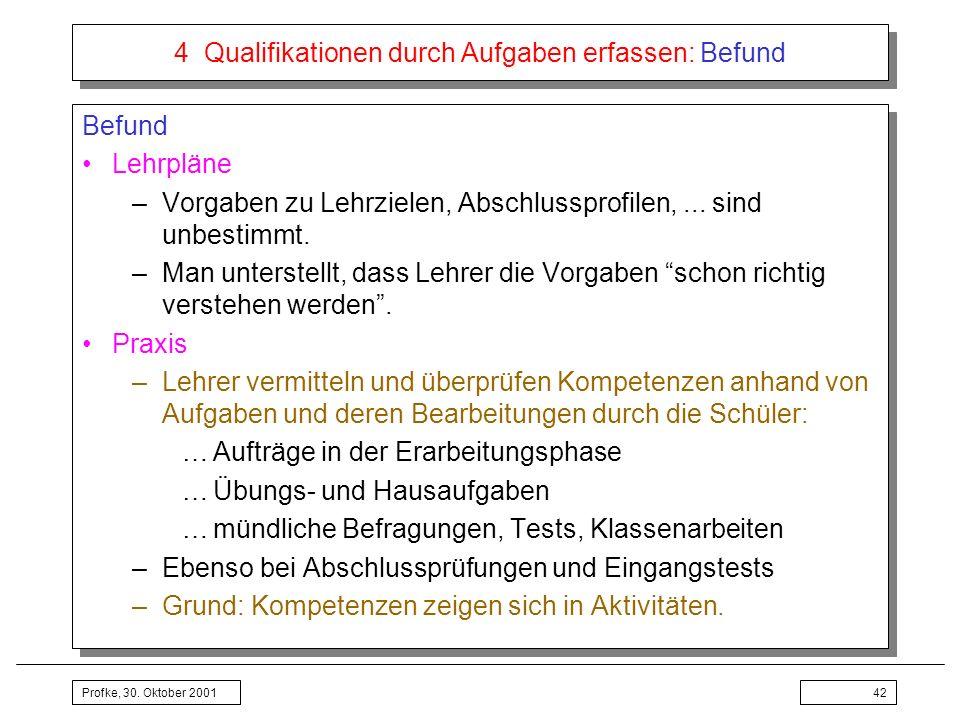 Profke, 30. Oktober 200142 4 Qualifikationen durch Aufgaben erfassen: Befund Befund Lehrpläne –Vorgaben zu Lehrzielen, Abschlussprofilen,... sind unbe