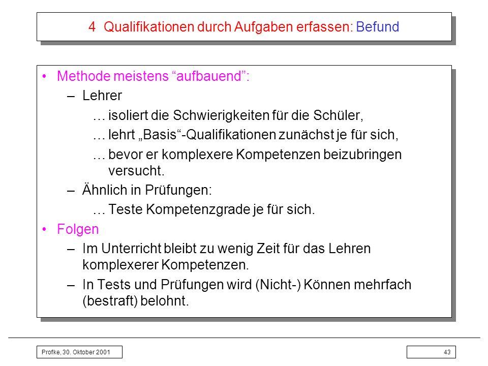 Profke, 30. Oktober 200143 4 Qualifikationen durch Aufgaben erfassen: Befund Methode meistens aufbauend: –Lehrer …isoliert die Schwierigkeiten für die