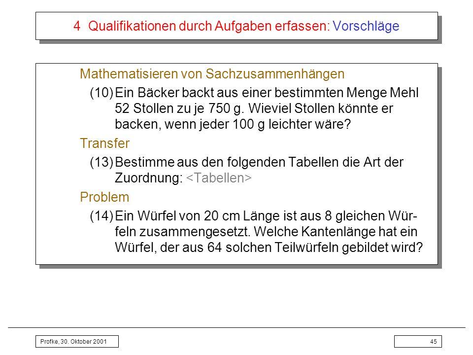 Profke, 30. Oktober 200145 4 Qualifikationen durch Aufgaben erfassen: Vorschläge Mathematisieren von Sachzusammenhängen (10)Ein Bäcker backt aus einer