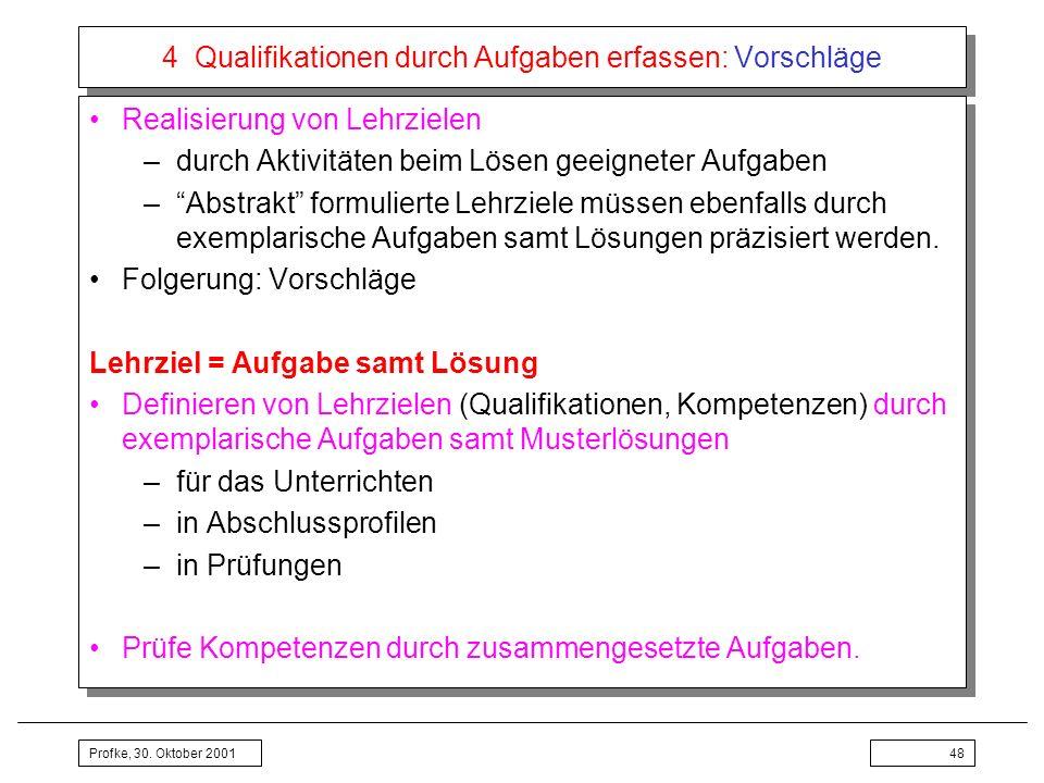 Profke, 30. Oktober 200148 4 Qualifikationen durch Aufgaben erfassen: Vorschläge Realisierung von Lehrzielen –durch Aktivitäten beim Lösen geeigneter