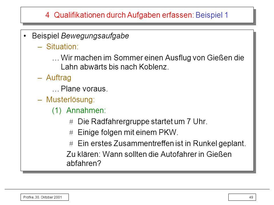 Profke, 30. Oktober 200149 4 Qualifikationen durch Aufgaben erfassen: Beispiel 1 Beispiel Bewegungsaufgabe –Situation: …Wir machen im Sommer einen Aus