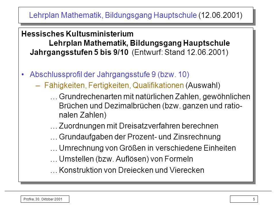 Profke, 30. Oktober 20015 Lehrplan Mathematik, Bildungsgang Hauptschule (12.06.2001) Hessisches Kultusministerium Lehrplan Mathematik, Bildungsgang Ha