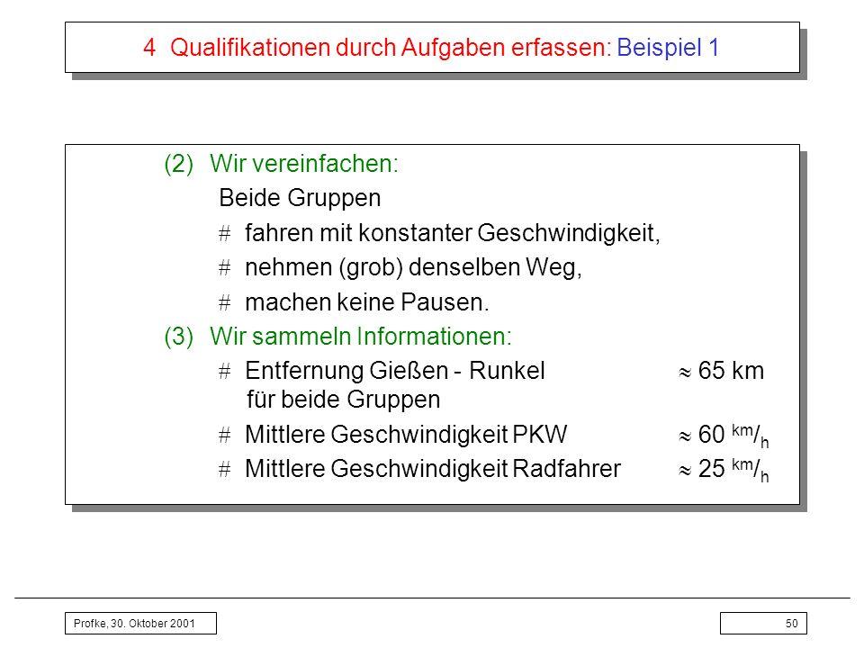 Profke, 30. Oktober 200150 4 Qualifikationen durch Aufgaben erfassen: Beispiel 1 (2)Wir vereinfachen: Beide Gruppen fahren mit konstanter Geschwindigk
