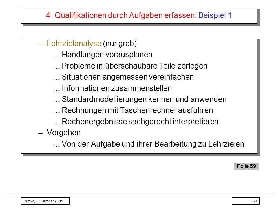 Profke, 30. Oktober 200153 4 Qualifikationen durch Aufgaben erfassen: Beispiel 1 –Lehrzielanalyse (nur grob) …Handlungen vorausplanen …Probleme in übe