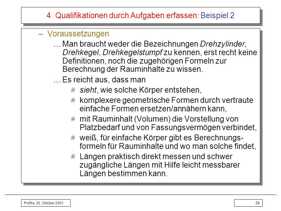 Profke, 30. Oktober 200158 4 Qualifikationen durch Aufgaben erfassen: Beispiel 2 –Voraussetzungen …Man braucht weder die Bezeichnungen Drehzylinder, D