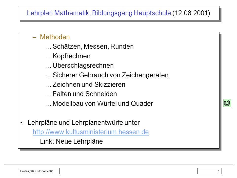 Profke, 30. Oktober 20017 Lehrplan Mathematik, Bildungsgang Hauptschule (12.06.2001) –Methoden …Schätzen, Messen, Runden …Kopfrechnen …Überschlagsrech