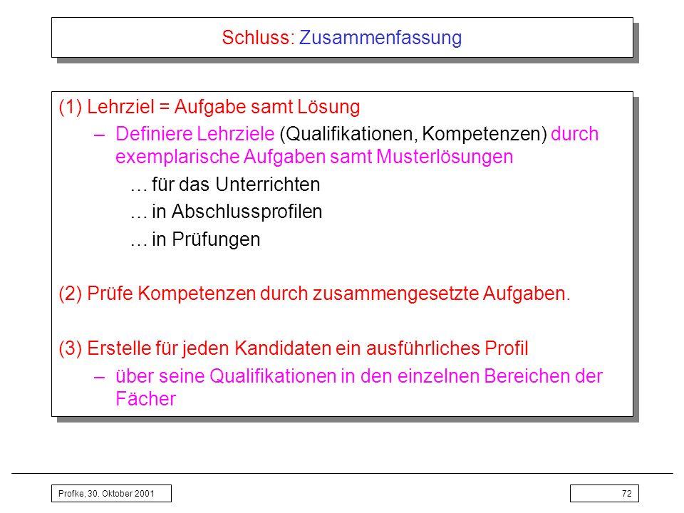 Profke, 30. Oktober 200172 Schluss: Zusammenfassung (1) Lehrziel = Aufgabe samt Lösung –Definiere Lehrziele (Qualifikationen, Kompetenzen) durch exemp