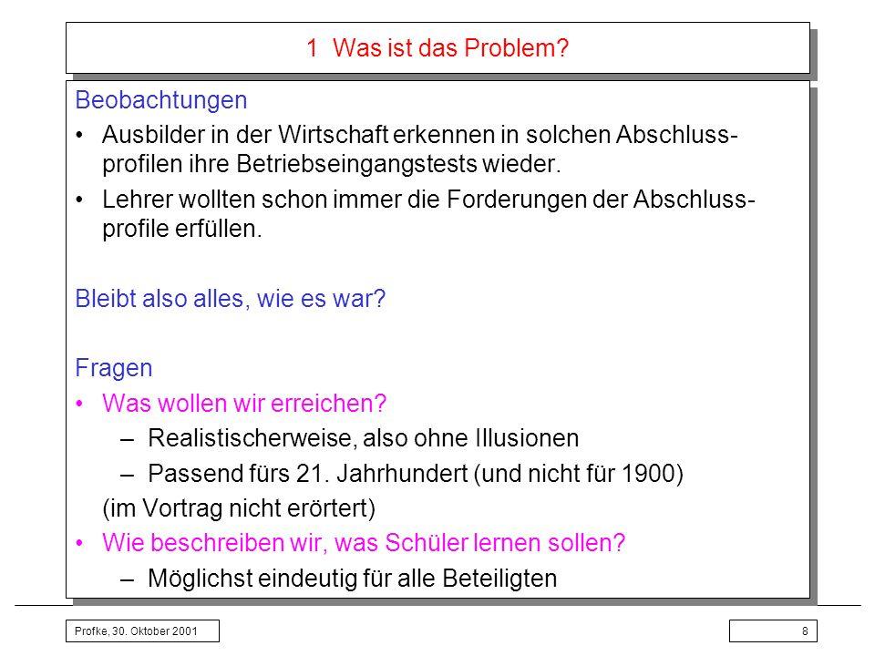 Profke, 30.Oktober 200139 3 Lehrplan Mathematik Hauptschule: Unterrichtspraktischer Teil Lfd.