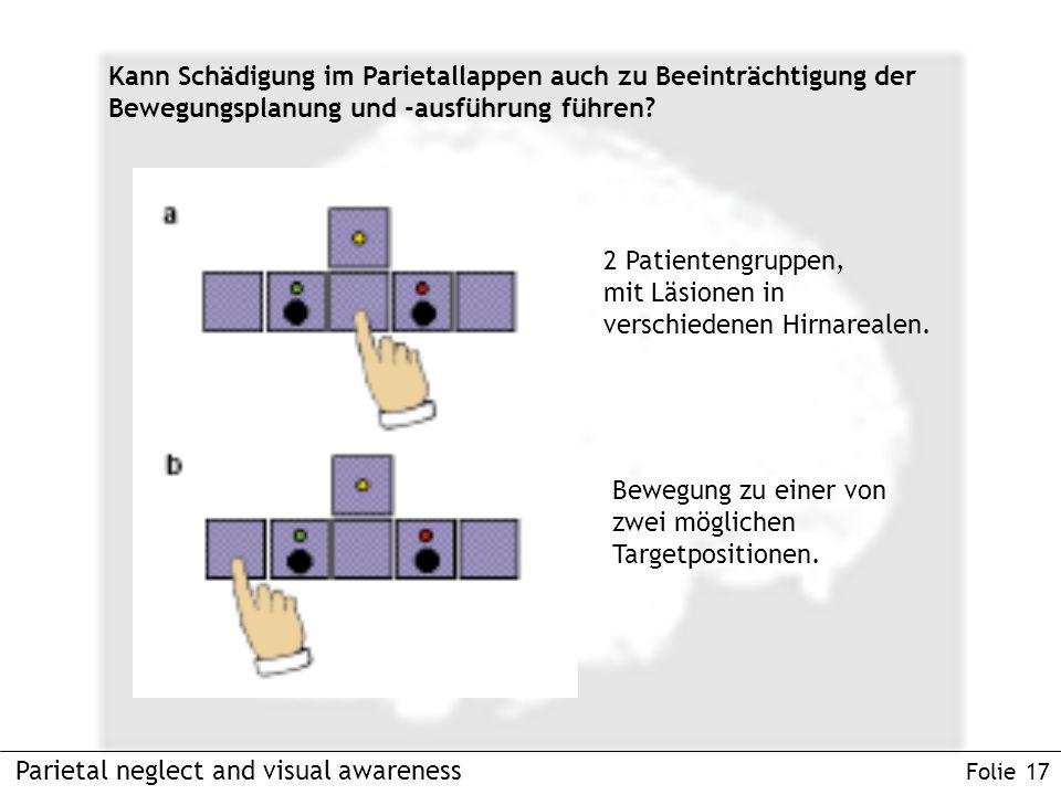 Parietal neglect and visual awareness Folie 17 Kann Schädigung im Parietallappen auch zu Beeinträchtigung der Bewegungsplanung und -ausführung führen.