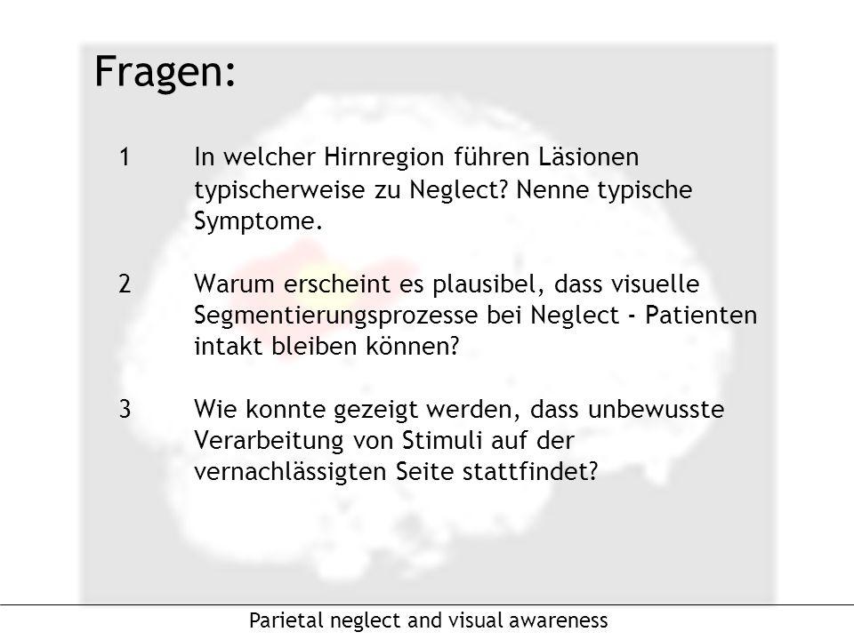 1In welcher Hirnregion führen Läsionen typischerweise zu Neglect.