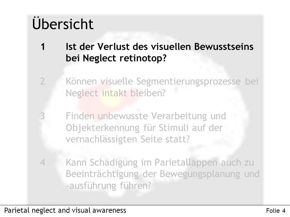 1Ist der Verlust des visuellen Bewusstseins bei Neglect retinotop.