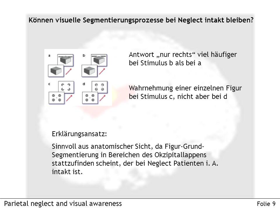 Parietal neglect and visual awareness Folie 9 Können visuelle Segmentierungsprozesse bei Neglect intakt bleiben.