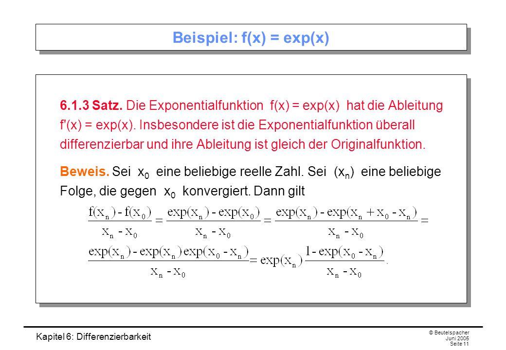 Kapitel 6: Differenzierbarkeit © Beutelspacher Juni 2005 Seite 11 Beispiel: f(x) = exp(x) 6.1.3 Satz.