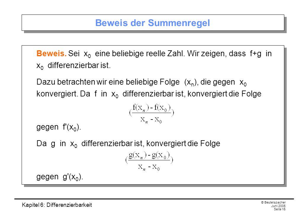 Kapitel 6: Differenzierbarkeit © Beutelspacher Juni 2005 Seite 15 Beweis der Summenregel Beweis.
