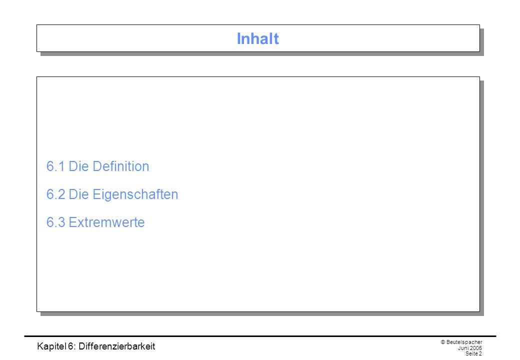 Kapitel 6: Differenzierbarkeit © Beutelspacher Juni 2005 Seite 23 6.3 Minimum, Maximum, Extremum Definition.