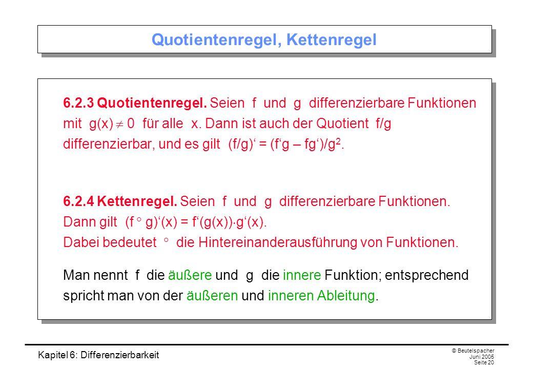 Kapitel 6: Differenzierbarkeit © Beutelspacher Juni 2005 Seite 20 Quotientenregel, Kettenregel 6.2.3 Quotientenregel.