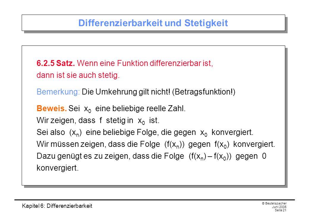 Kapitel 6: Differenzierbarkeit © Beutelspacher Juni 2005 Seite 21 Differenzierbarkeit und Stetigkeit 6.2.5 Satz.