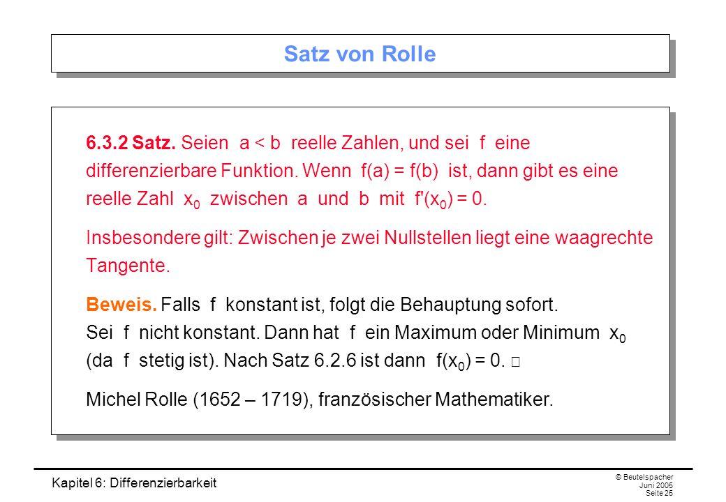 Kapitel 6: Differenzierbarkeit © Beutelspacher Juni 2005 Seite 25 Satz von Rolle 6.3.2 Satz.