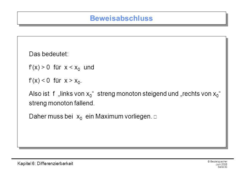 Kapitel 6: Differenzierbarkeit © Beutelspacher Juni 2005 Seite 30 Beweisabschluss Das bedeutet: f(x) > 0 für x < x 0 und f(x) x 0.