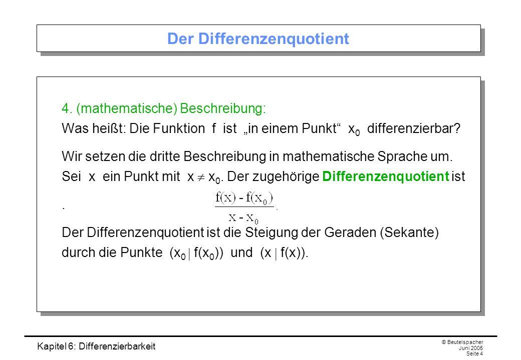 Kapitel 6: Differenzierbarkeit © Beutelspacher Juni 2005 Seite 4 Der Differenzenquotient 4.