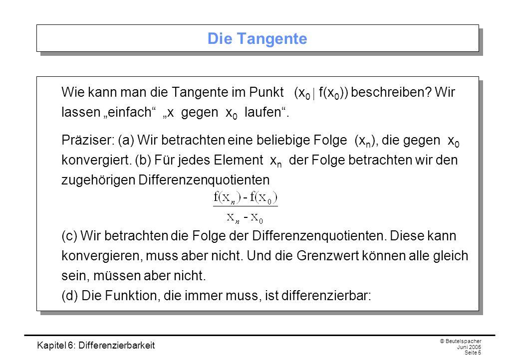 Kapitel 6: Differenzierbarkeit © Beutelspacher Juni 2005 Seite 5 Die Tangente Wie kann man die Tangente im Punkt (x 0 f(x 0 )) beschreiben.