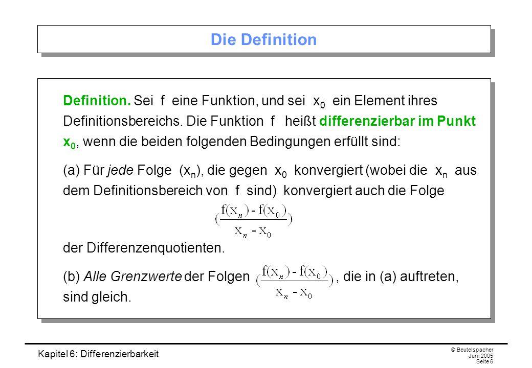 Kapitel 6: Differenzierbarkeit © Beutelspacher Juni 2005 Seite 6 Die Definition Definition.