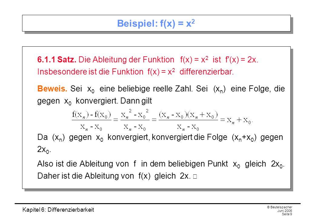 Kapitel 6: Differenzierbarkeit © Beutelspacher Juni 2005 Seite 9 Beispiel: f(x) = x 2 6.1.1 Satz.