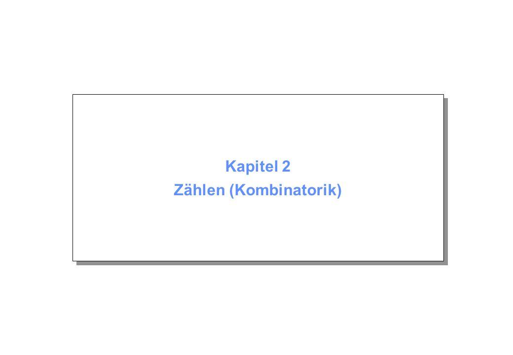 Kapitel 2 © Beutelspacher November 2004 Seite 42 Beweisabschluss (c) Summe dieser Mächtigkeiten: Da es solche Durchschnitte gibt, ist i = Das können wir noch vereinfachen: i = (d) Berechnung von a(n): Für die gesuchte Anzahl aller fixpunktfreien Permutationen gilt also a(n) = n.