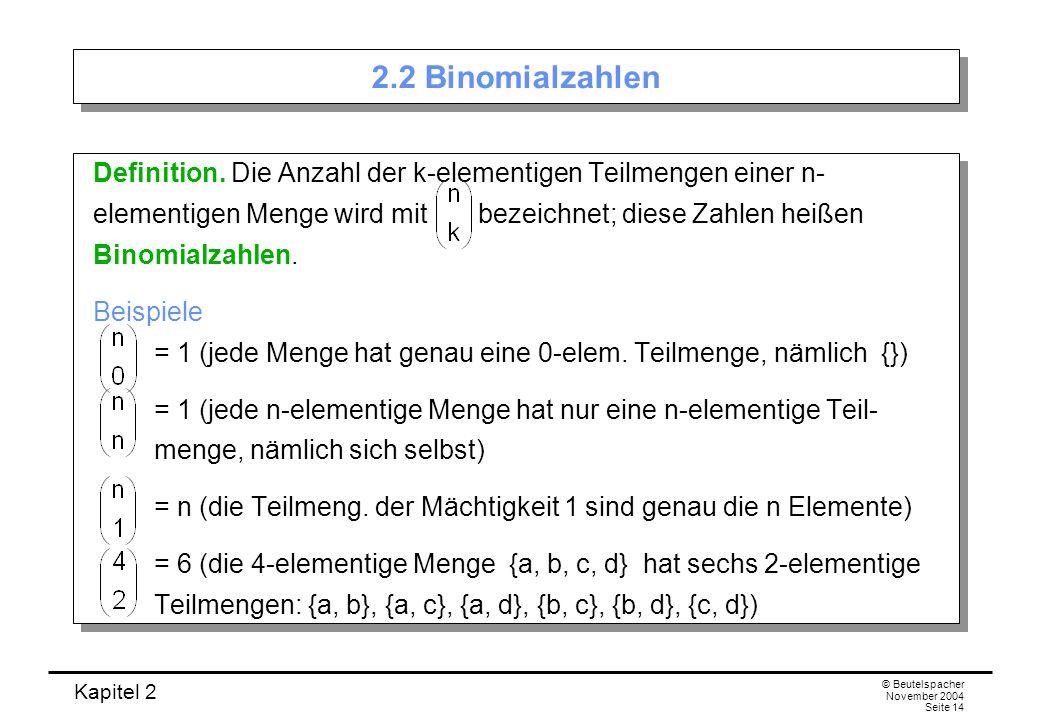 Kapitel 2 © Beutelspacher November 2004 Seite 14 2.2 Binomialzahlen Definition. Die Anzahl der k-elementigen Teilmengen einer n- elementigen Menge wir