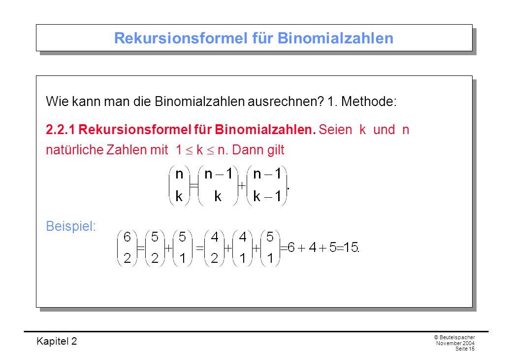 Kapitel 2 © Beutelspacher November 2004 Seite 15 Rekursionsformel für Binomialzahlen Wie kann man die Binomialzahlen ausrechnen? 1. Methode: 2.2.1 Rek