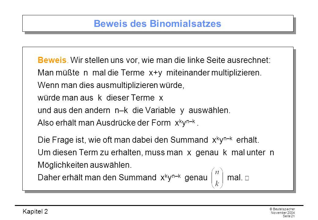 Kapitel 2 © Beutelspacher November 2004 Seite 21 Beweis des Binomialsatzes Beweis. Wir stellen uns vor, wie man die linke Seite ausrechnet: Man müßte