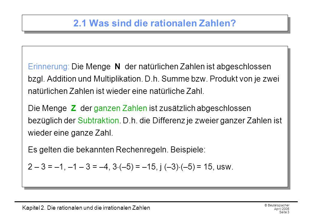 Kapitel 2. Die rationalen und die irrationalen Zahlen © Beutelspacher April 2005 Seite 3 2.1 Was sind die rationalen Zahlen? Erinnerung: Die Menge N d