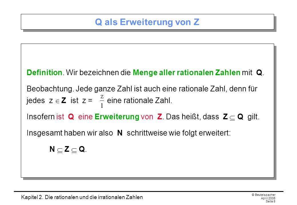 Kapitel 2. Die rationalen und die irrationalen Zahlen © Beutelspacher April 2005 Seite 8 Q als Erweiterung von Z Definition. Wir bezeichnen die Menge