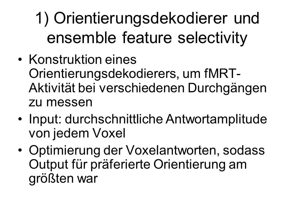 1) Orientierungsdekodierer und ensemble feature selectivity Konstruktion eines Orientierungsdekodierers, um fMRT- Aktivität bei verschiedenen Durchgän