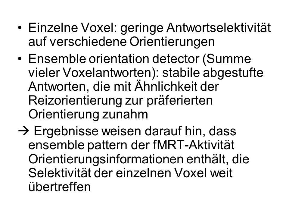 Einzelne Voxel: geringe Antwortselektivität auf verschiedene Orientierungen Ensemble orientation detector (Summe vieler Voxelantworten): stabile abges