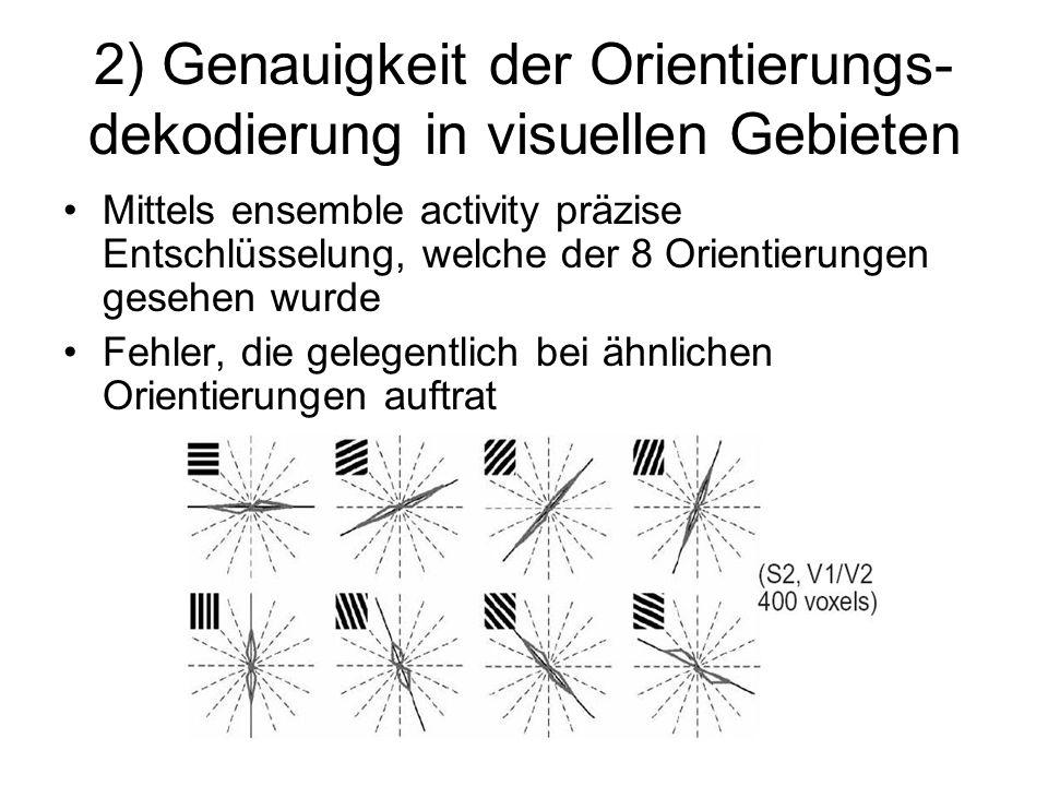 2) Genauigkeit der Orientierungs- dekodierung in visuellen Gebieten Mittels ensemble activity präzise Entschlüsselung, welche der 8 Orientierungen ges