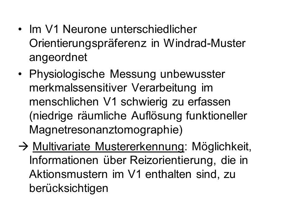 Im V1 Neurone unterschiedlicher Orientierungspräferenz in Windrad-Muster angeordnet Physiologische Messung unbewusster merkmalssensitiver Verarbeitung