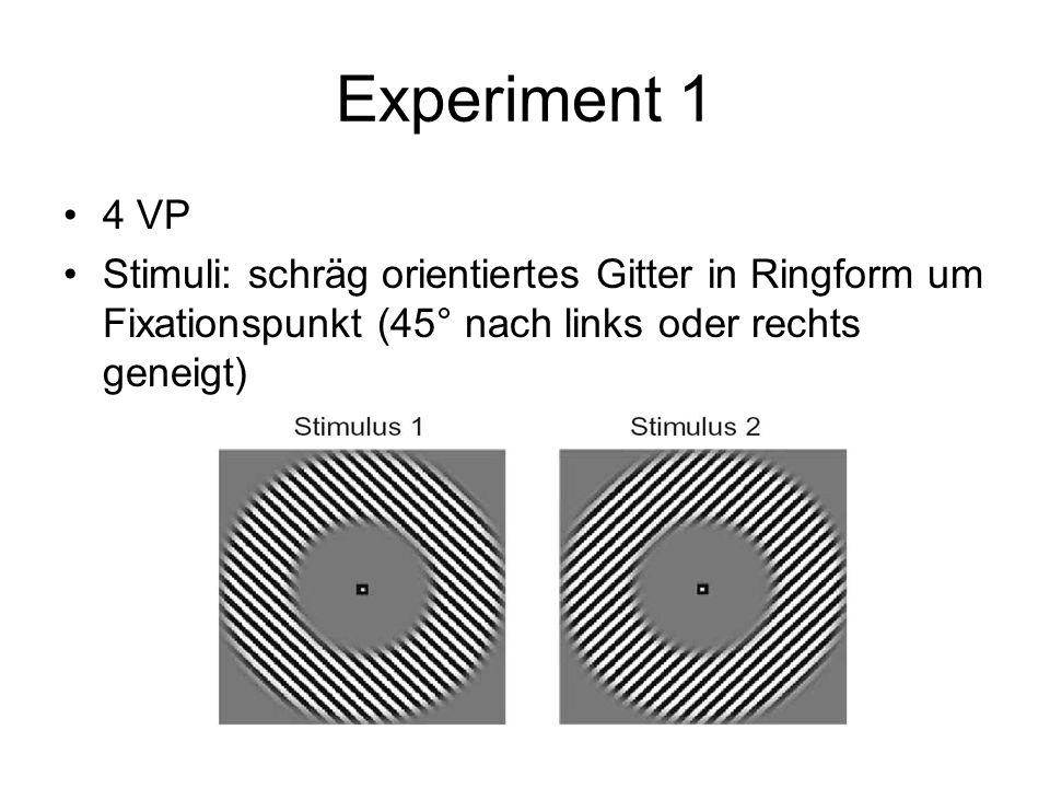 1) Orientierungsdekodierer und ensemble feature selectivity Konstruktion eines Orientierungsdekodierers, um fMRT- Aktivität bei verschiedenen Durchgängen zu messen Input: durchschnittliche Antwortamplitude von jedem Voxel Optimierung der Voxelantworten, sodass Output für präferierte Orientierung am größten war