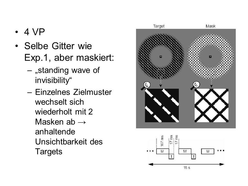 Trotz Wissen über Maskierung waren VP unfähig Orientierung der maskierten Gitter zu erkennen Zufallsleistung Aktivitätsmuster im V1: Genauigkeit über Zufallsniveau (1 Voxel: 50%, bei mehreren ca.57%)