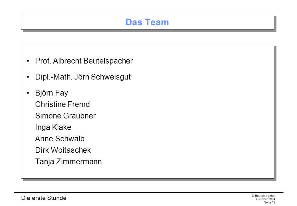 Die erste Stunde © Beutelspacher Oktober 2004 Seite 12 Das Team Prof.