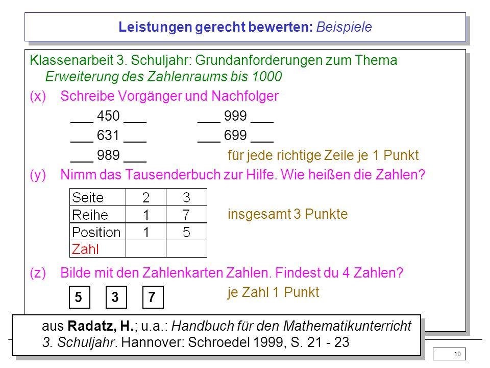 Lack / Profke 17.02.200410 Leistungen gerecht bewerten: Beispiele Klassenarbeit 3. Schuljahr: Grundanforderungen zum Thema Erweiterung des Zahlenraums