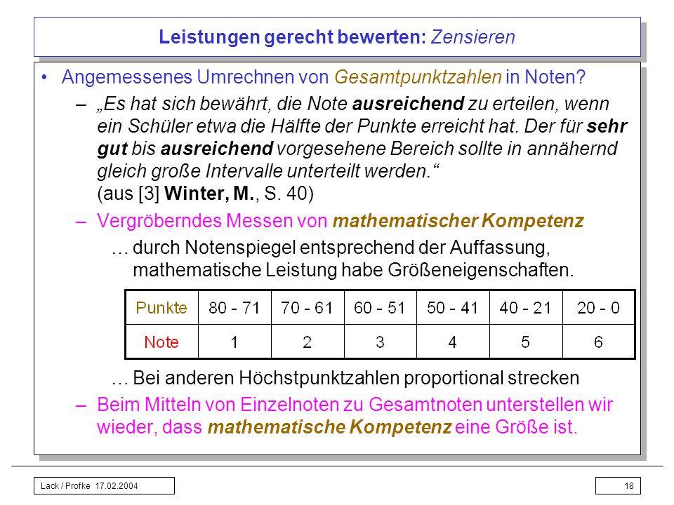 Lack / Profke 17.02.200418 Leistungen gerecht bewerten: Zensieren Angemessenes Umrechnen von Gesamtpunktzahlen in Noten? –Es hat sich bewährt, die Not