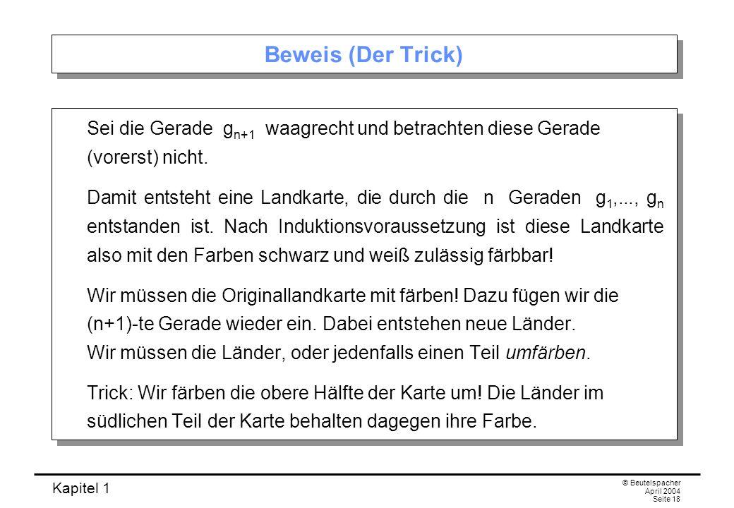 Kapitel 1 © Beutelspacher April 2004 Seite 18 Beweis (Der Trick) Sei die Gerade g n+1 waagrecht und betrachten diese Gerade (vorerst) nicht. Damit ent